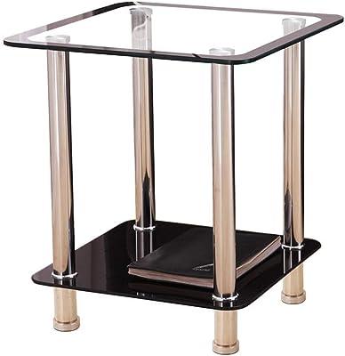 ET2001 Tavolo da Notte Quadrato RFIVER Tavolino in Vetro temprato,Tavolini Bassi,Tavolo da Salotto