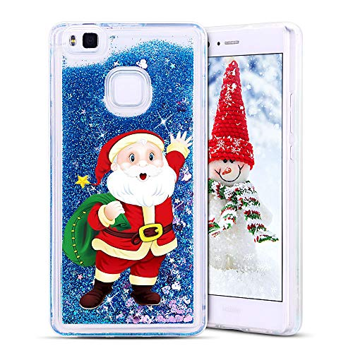 SpiritSun Funda Huawei P9 Lite, Transparente Case Silicona TPU Carcasa Líquido Bumper Tapa Quicksand Cubierta Trasero Suave Protectora Case para Huawei P9 Lite Navidad Santa Claus - Azul