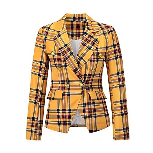 MFFACAI Blazer Chaquetas para Mujer Office Lady Lapel Abrigo de Manga Larga Traje Cárdigan Delgado Tops Casuales (Color : Yellow, Size : L)