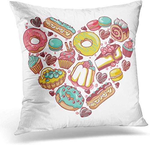 jindufabaihuodian Kussen Hoesje Liefde Gebak Snoepjes Bakkerijproducten Desserts Hart met Donut Cupcake Chocolade Macaroon Eclair Taart Decoratieve Kussensloop Kussen Cover 16 x 16 Inches