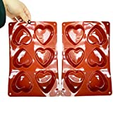 Heart Molds for Chocolate, 2 Pieces Heart Silicone Molds, Love Molds Silicone Shapes Jello Molds Silicone for Chocolate, Cake, Jelly, Pudding, Handmade Soap, Mousse Silicone Baking Molds