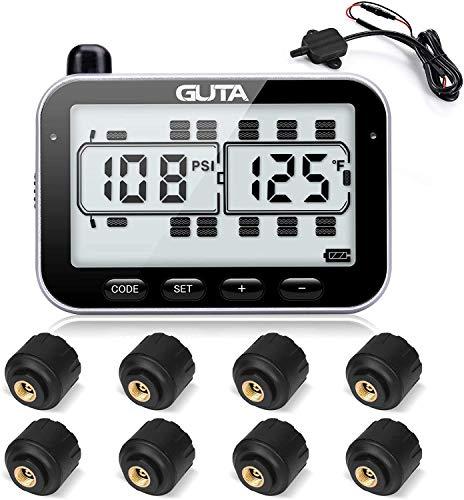 RV Tire Pressure Monitoring System, RV TPMS, 8 Sensors, 7 Alarm Modes, 14 Days Battery Life, 80ft...