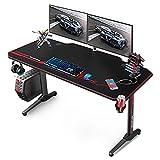 VANSPACE Scrivania Da Gioco 55'' Gaming Desk, 140x65x75 cm Scrivania PC Gaming con Tappetino Per Mouse, Gestione dei Cavi, Portabicchieri e Gancio per Cuffie, USB Maniglia di gioco