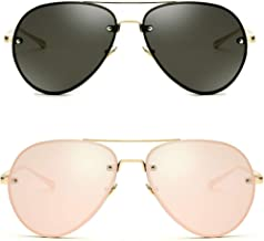 Oversized Aviator Sunglasses Vintage Retro Gold Metal Frame Colorful Lenses 62mm