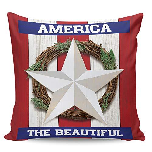 Scrummy Throw Pillow Covers 16' x 16' Beautiful American Wreath Pentagram Retro Wood Grain Red White Stripe Decorative Pillowcases Square Cushion Cover for Home Decor