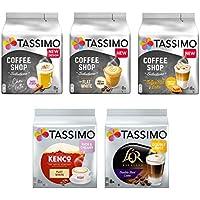 Tassimo Discover Bundle - Tassimo Coffee Shop Selections Chai Latte/Typ Flat White/Typ Toffee Nut-Latte, Kenco Flat White, L