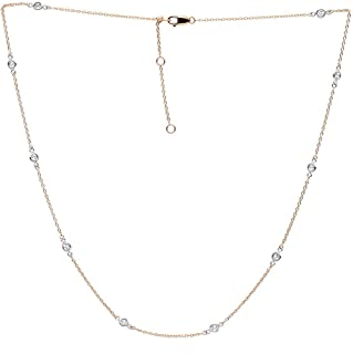Luxurman Ladies 14k Gold Diamonds By the Yard Station Adjustable Necklace 0.5ctw