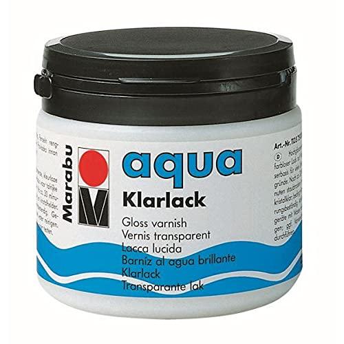 Marabu 11350075000 - Farbloser aqua Klarlack, transparent 500 ml Dose, hochglänzender Acryl - Lack auf Wasserbasis, für Hobby und Freizeit, zum Lackieren vieler Bastelarbeiten und Materialien