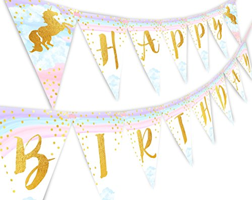 Magical Unicorn Rainbow Happy Birthday Banner Pennant