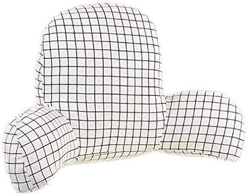 ZWXXQ Almohada de Lectura extraíble con Brazos y Respaldo Acolchado Suave Silla de Oficina Grande cojín de Asiento de Descanso para Oficina Almohadilla Lumbar multifuncional-60x35cm Blanco