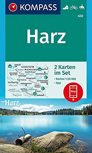 KOMPASS Wanderkarte Harz: 2 Wanderkarten 1:50000 im Set inklusive Karte zur offline Verwendung in der KOMPASS-App. Fahrradfahren. Reiten. (KOMPASS-Wanderkarten, Band 450)