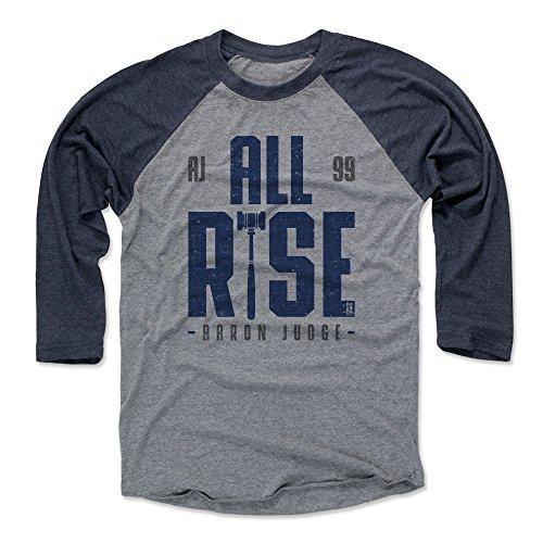 500 LEVEL Aaron Judge Baseball Tee Shirt Large Navy/Heather Gray - New York Baseball Raglan Shirt - Aaron Judge Rise B