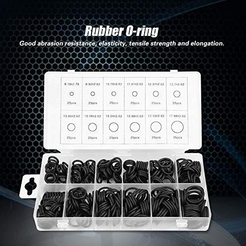 Anel de vedação de borracha, 300pcs 12 tamanhos Conjunto de sortimento de vedação de arruela de vedação para encanamento profissional, automotivo, mecânico, reparos, conexões de gás (preto)(300pcs)