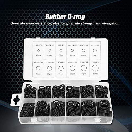 Black O-ring Set O Ring Kit, Seal Gasket O Rings, O-ring Assortment Cars and Pumps for Sealing Valves(300pcs)