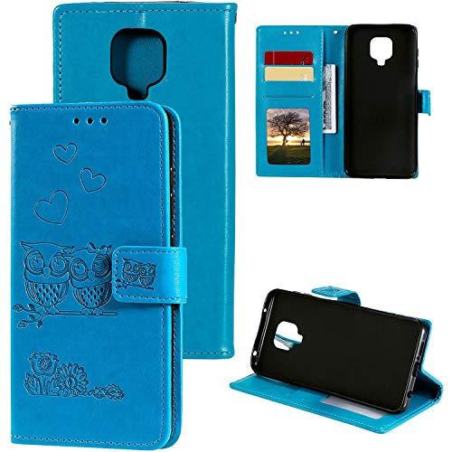 Miagon für Xiaomi Redmi Note 9 Pro Hülle,Geprägt Eule Blumen Herz Muster Pu Leder Ständer Flip Schutzhülle Tasche Brieftasche Etui mit Magnetverschluss Kartenhalter