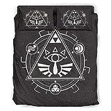 Ballbollbll Zelda - Juego de sábanas de 4 piezas con 2 fundas de almohada, 1 sábana y 1 funda de edredón, color blanco