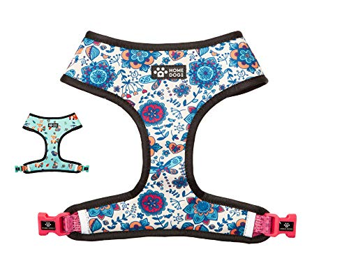 Homedogco Classic All -Weather Dog Harness - Breathable Air Mesh Lined Dog Vest Harness - Adjustable Chest Straps Lightweight Easy Walk Harness for Small and Medium Dogs (in Bloom, Large)