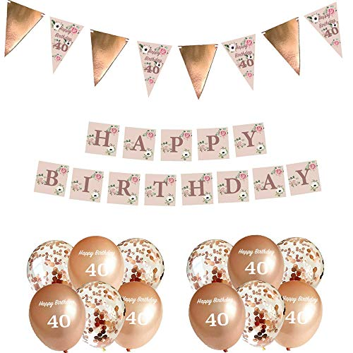 Blue Planet Fancy Dress 40th Birthday Decorations Rose Gold Floral Bunting Garland, Banner & 12 Confetti Balloons for Women Girls Happy Birthday Party 40