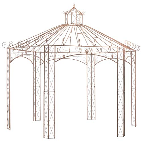 vidaXL Garden Pavilion Outdoor Backyard Patio Rose Arch Gazebo Climbing Vines Plant Shelter Structure Antique Brown 4m Iron