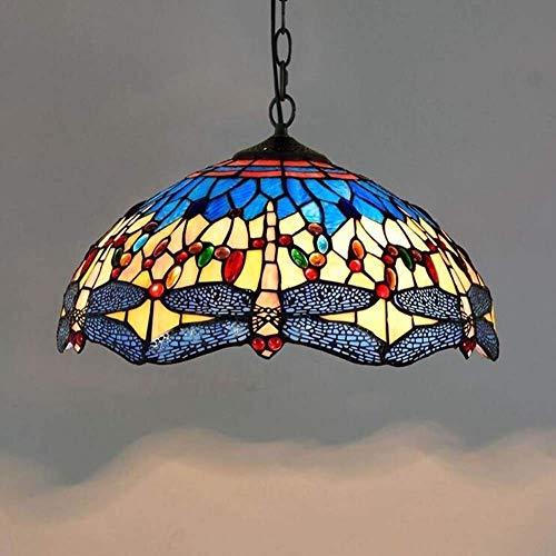 WHSS Lámpara de techo de estilo Tiffany Retro Creative para salón, comedor, dormitorio, estudio, bar, lámpara de cristal de altura ajustable, lámpara de techo decorativa