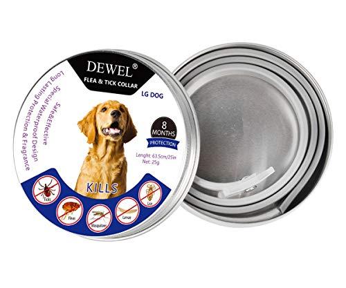 DEWEL Hund Zecken Halsband, Zeckenband für Katzen, Natürliches Zeckenhalsband für Hunde und Katzen, Reflektierendes Halsband gegen Zecken & Flöhe, Flohhalsband gegen Zecken, Milben