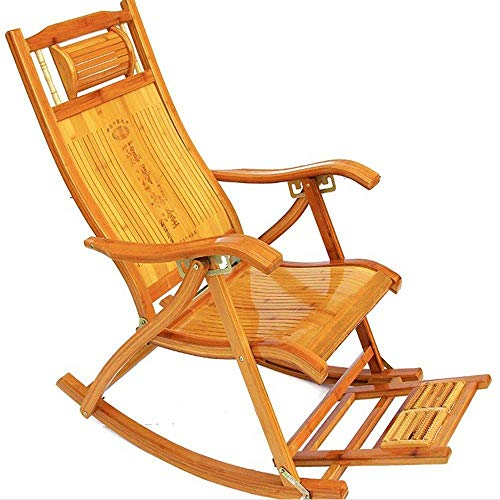 LJLDP Silla Mecedora de bambú Silla Plegable Balcón al Aire Libre Siesta...