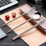 Chenjia - Juego de palillos de acero inoxidable para estudiantes y adultos para picnic al aire libre, ideal para uso en la oficina, regalos y utensilios de cocina