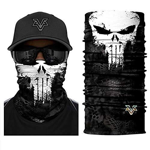 Multifunktionale Gesichtsmaske 3D Nahtlose Bandage Punisher Hals Polieren Motorrad Fahrrad Wunder Maske UV Stirnband Wanderschal Maske Grau