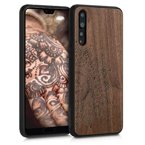 Holz Schutzhülle für Huawei P20 Pro - Hardcase Hülle mit TPU Bumper Walnussholz in Aufgehende Sonne Design Dunkelbraun - Handy Case Cover