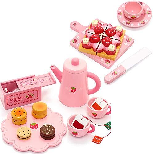 マザーガーデン 木製 ままごと 野いちご 紅茶ティータイムセット& 苺トースト 2アイテム セット