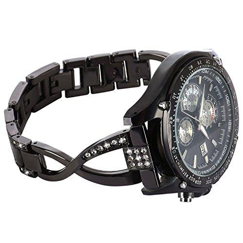 S3 Armband Schwarz,Samsung S3 Frontier Damen Bling band,Gear S3 Classic Schmuck Diamond Frau Edelstahl Metall Uhrenarmband,S3 Ersatzband Zubehör