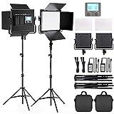 FOSITAN 2 Kits Bi-Color LED Video Light LCD Display Video Lighting Kit CRI 96+ 3200K-5600K Dimmable SMD LED Light with U Bracket, Barndoor , 79' Light Stand for Studio Photography Video Shooting