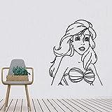wZUN Etiqueta engomada del Vinilo de la Sirena decoración del Dormitorio decoración del hogar Dibujos Animados Vida Linda Etiqueta de la Pared extraíble 42X52 cm