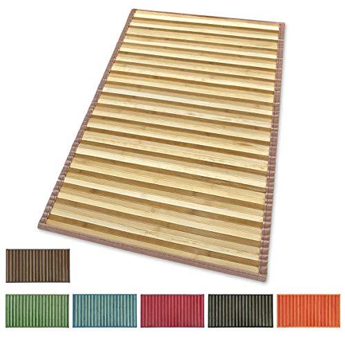 ARREDIAMOINSIEME-nelweb Tappeto Bamboo Legno Stuoia Cucina Bagno Camera Degradè Varie Misure Passatoia bambù Retro Antiscivolo MOD.Bamboo 50X180 Marrone (C)