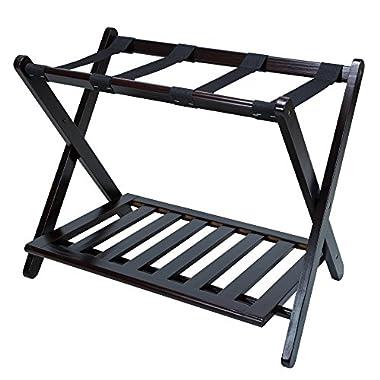 Casual Home Luggage Rack with Shelf, Espresso