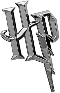Fan Emblems Harry Potter Symbol 3D Car Emblem Black Chrome HP Automotive Sticker Decal Badge Flexes to Fully Adhere to Cars Trucks Motorcycles Laptops Windows Almost Anything