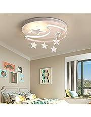 Lampa sufitowa LED, z pilotem zdalnego sterowania, możliwość ściemniania, wzór gwiazd, księżyc, lampa dziecięca, metal, akryl, oświetlenie wewnętrzne do pokoju dziecięcego, sypialni, salonu, biała, 42 cm, 36 W