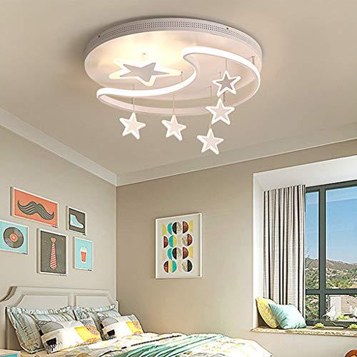 LED Deckenleuchte Deckenlampe Mit Fernbedienung Dimmbar Stern-Mond Design Kinderlampe Metall Acryl Kinderzimmer Lichter Innenbeleuchtung Für Babyzimmer Schlafzimmer Wohnzimmerleuchten,Weiß,52CM 54W
