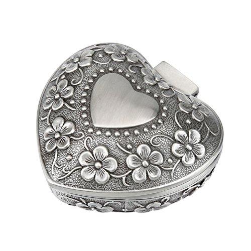 OUNONA Schmuckdose aus Metall mit eingearbeiteten Rosenornamenten, herzf?rmiger Beh?lter, Schmuckk?stchen, klassisch, Muttertagsgeschenk, f¨¹r Frauen und M?dchen