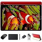 Tablet 10 Pulgadas GOODTEL Android 10 Tablets, 4GB RAM 64GB ROM, Expansión de 128GB, Cámara Dual 5MP+8MP, WiFi, 2.5D IPS, Bluetooth, FM, con Funda, Teclado y Ratón - Rojo
