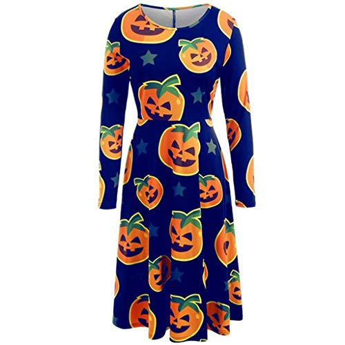 RISTHY Vestidos de Halloween para Mujer Mangas Largas Impreso Estilo Vintage Vestidos de Fiesta en Línea