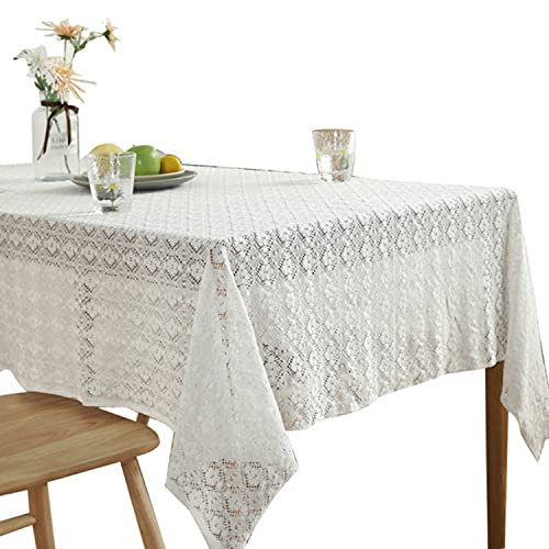 White Vintage Table Cloth Wedding Decor Lace Tablecloth Jacquard Table Cover Party Decorative Tea Table Cloth Home Table Decor - White,100x150cm