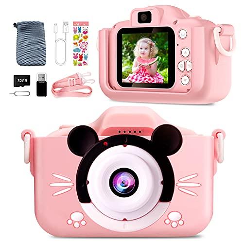 Appareil Photo Enfant-Mini Caméra Numérique Rechargeable Caméscope Photo Vidéo Cadeau pour Filles et Garçons de 3 à 12 Ans,avec 32G Carte 1080P HD Coque en Silicone Résistant aux Chocs(Rose)