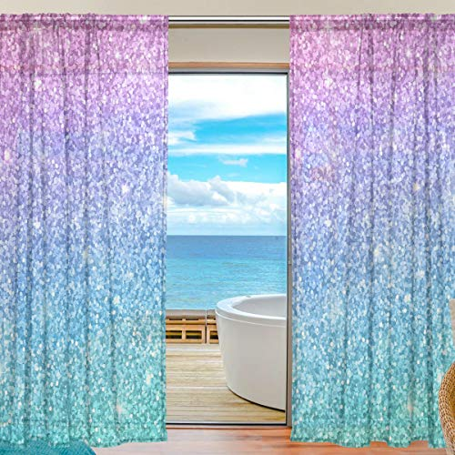 """Sheers Window Curtains for Living Room Bedroom Pink Blue Glitter Pattern Printed Voile Polyester Set of 2 Curtain Panels, 55"""" x 78"""""""