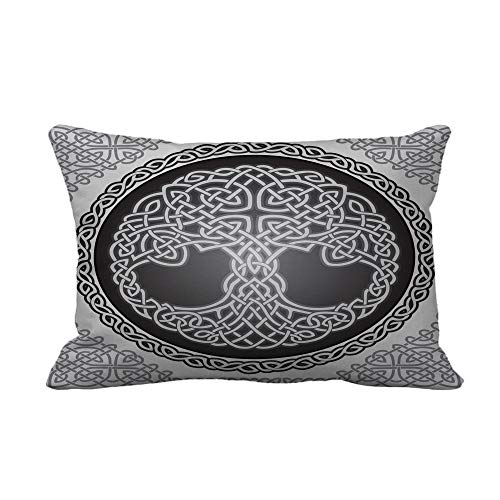 Topyee Throw Pillow Cover Knot Round Celtic Tree of Life Border Black White 12x20 inches Home Decor Pillow Case Cushion Cover Pillowcase for Couch Bed Sofa
