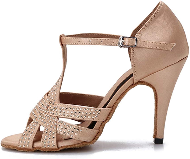 Kyle Walsh Pa Women Latin Dance shoes Satin Softsole Ladies Ballroom Dance shoes Sandal 10CM Heel