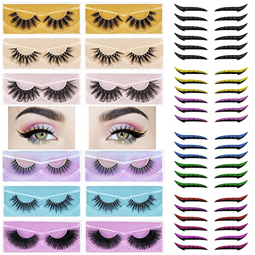 Eyelashes with Eyeliner Stickers - 12 Pairs Reusable Faux Mink Lashes & 24 Pairs Winged Self-adhesive Eye Line Strip Sticker, Glitter Eyelid Tape Instant Eye Makeup (Natural Fluffy)