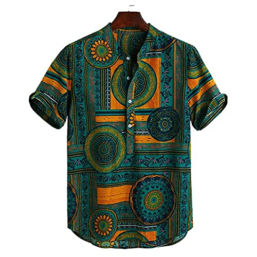 LookMark Men's Poly Cotton Lining Digital Printed Stitched Half Sleeve Shirt