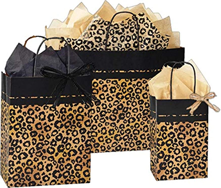 Gift Bags, Assorted Sizes, Bundled with Coordinating Tissue Paper and Raffia Ribbon (Leopard Safari)