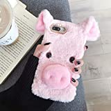 Fuzzy iPhone 5S Case, iPhone 5S Fluffy Pig Ear Cases, Cute Furry Pink Plush Piggy Fur Phone Cases for Girls Women Winter Warm Soft Back Shockproof Protective Cover with Bling Glitter Crown